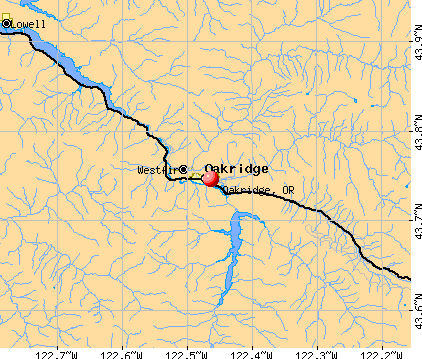 Oakridge, OR map
