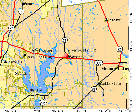 Farmersville, TX map