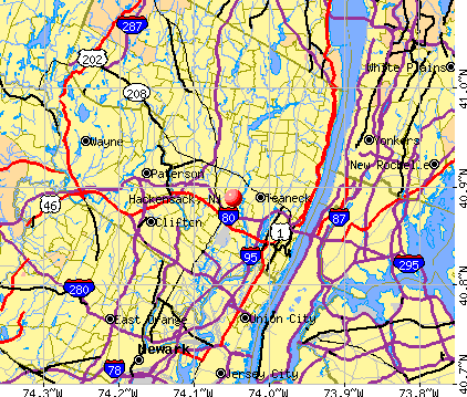 Hackensack, NJ map