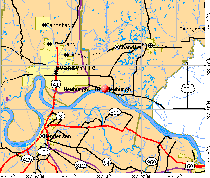 Newburgh, IN map