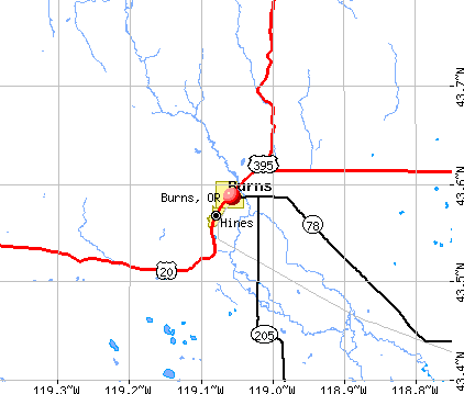 Burns, OR map