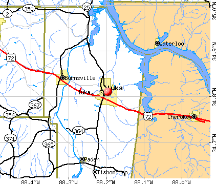 Iuka, MS map