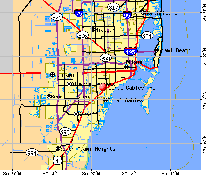 Coral Gables, FL map