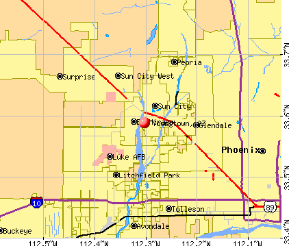 Youngtown, AZ map