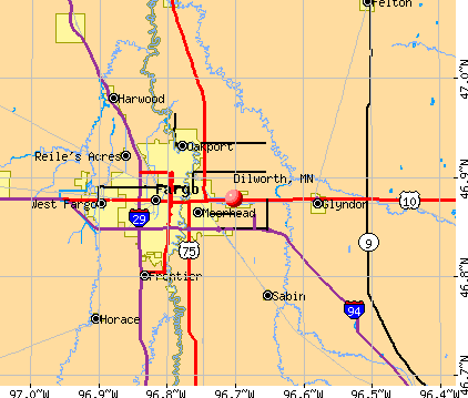Dilworth, MN map