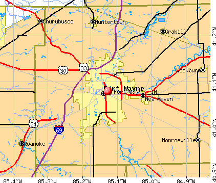 Fort Wayne, IN map