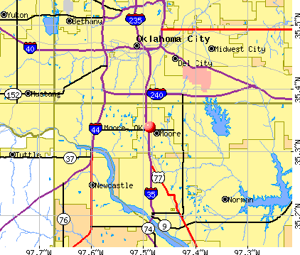 Moore, OK map
