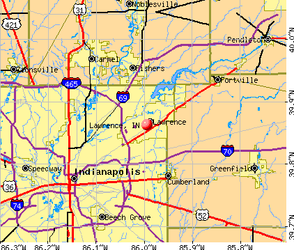 Lawrence, IN map