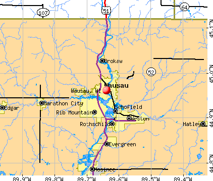 Wausau, WI map