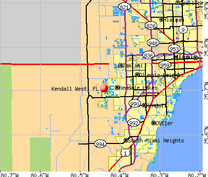 Kendall West, FL map