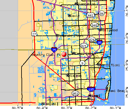 Country Club, FL map
