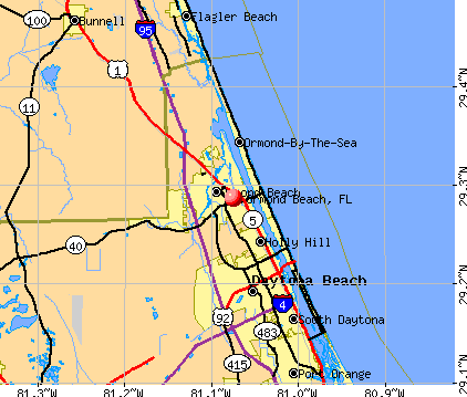 Ormond Beach, FL map