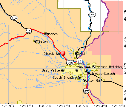 Gleed, WA map