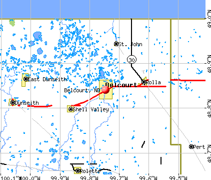 Belcourt, ND map
