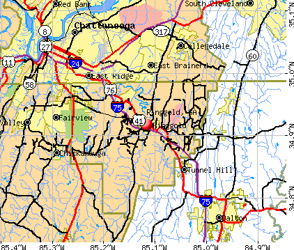 Ringgold, GA map