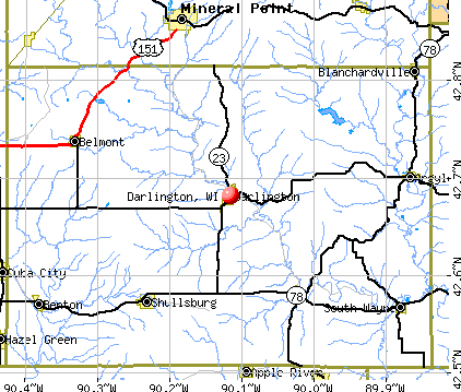 Darlington, WI map