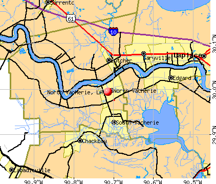 North Vacherie, LA map