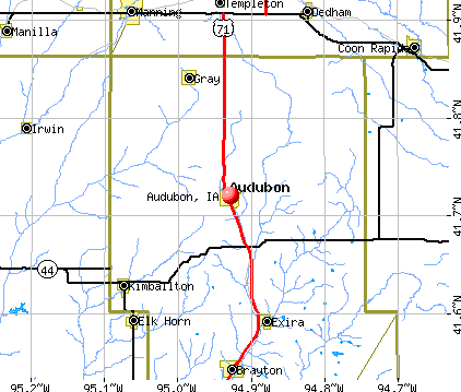 Audubon, IA map