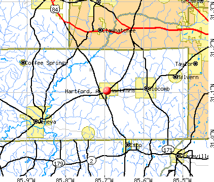 Hartford, AL map