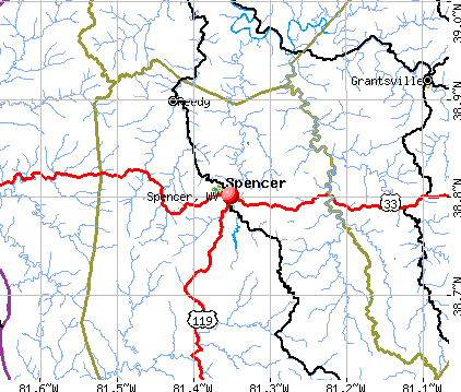 Spencer, WV map