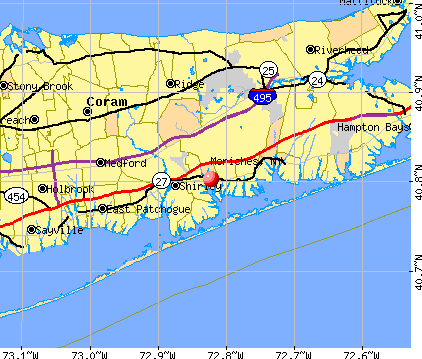 Moriches, NY map