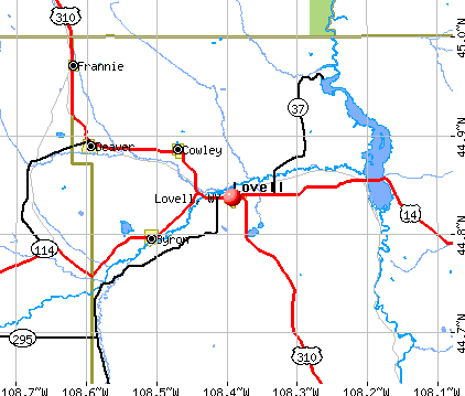 Lovell, WY map