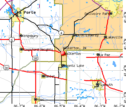 Walkerton, IN map
