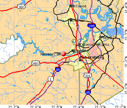 Matoaca, VA map
