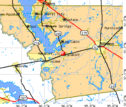 Malakoff, TX map