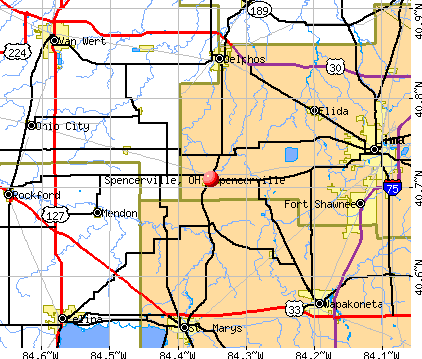 Spencerville, OH map