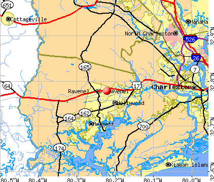 Ravenel, SC map