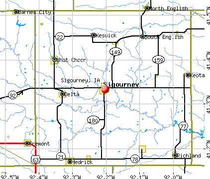 Sigourney, IA map