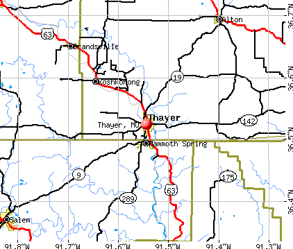 Thayer, MO map