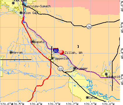 Zillah, WA map