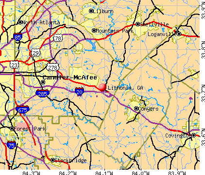 Lithonia, GA map