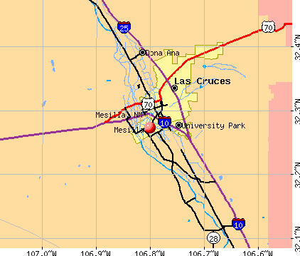 Mesilla, NM map