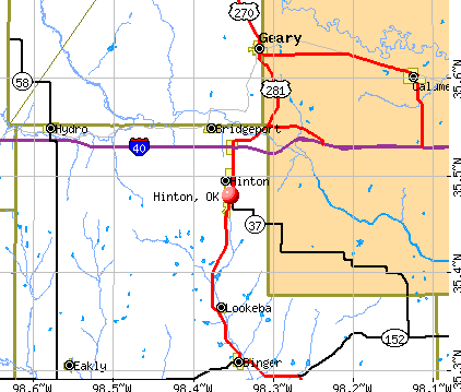 Hinton, OK map