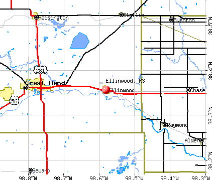 Ellinwood, KS map