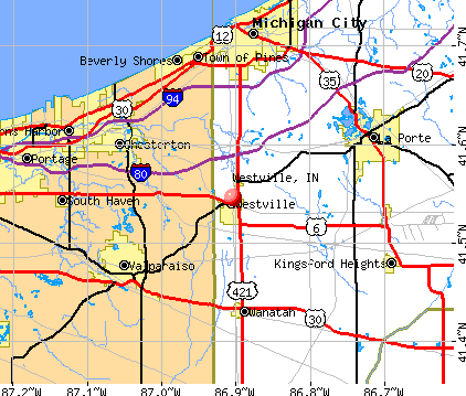 Westville, IN map