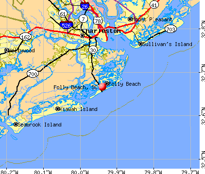 Folly Beach, SC map