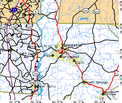 Lancaster Mill, SC map