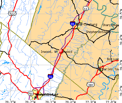 Inwood, WV map