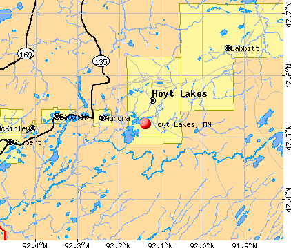 Hoyt Lakes, MN map