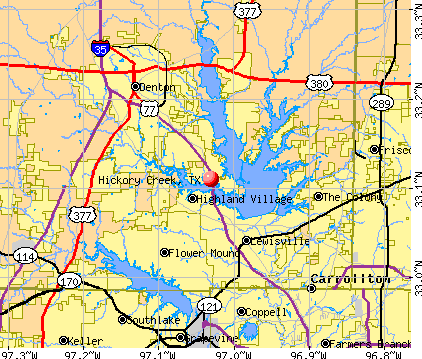 Hickory Creek, TX map