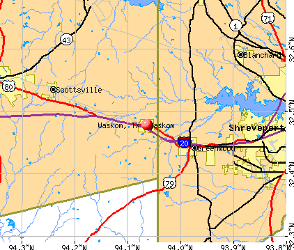 Waskom, TX map