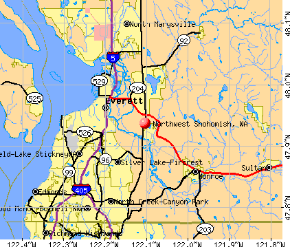 Northwest Snohomish, WA map