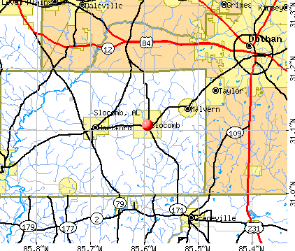 Slocomb, AL map
