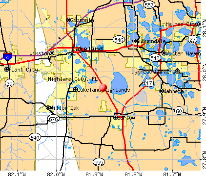 Highland City, FL map