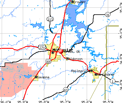 Krebs, OK map