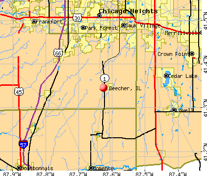 Beecher, IL map